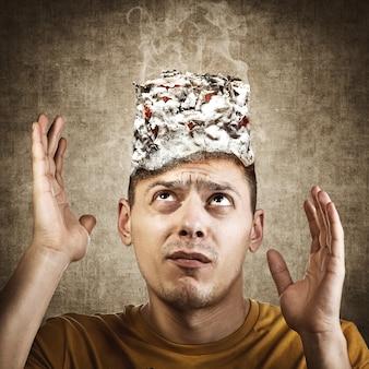 Stop smoking concept. burning man's head