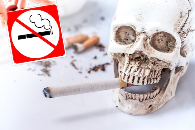 Stop smoking for world no tobacco day. unhealthy and no cigarette concept.