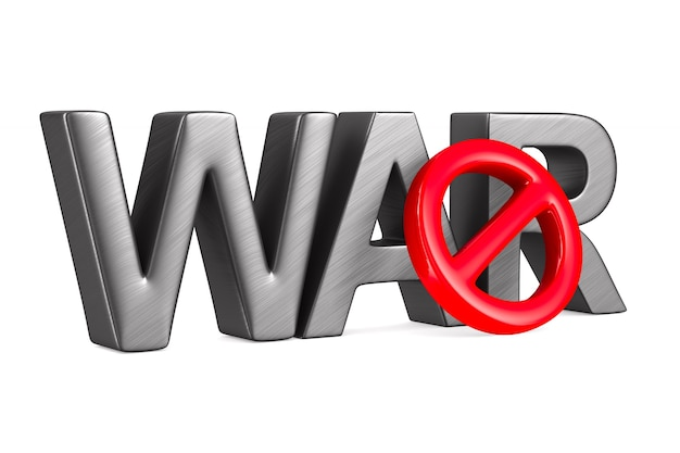 Stop war on white space. isolated 3d illustration