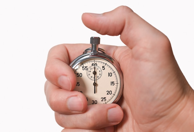 Секундомер в руке, палец нажимает кнопку, начало, конец, изолировать, крупный план.