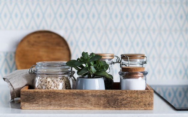 Storage of bulk products and cereals in glass jars. concept zero waste.