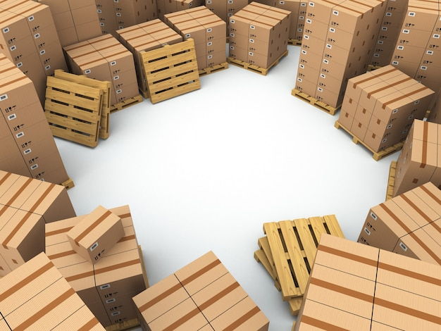 Storage cardboard boxes on pallet space for text 3d