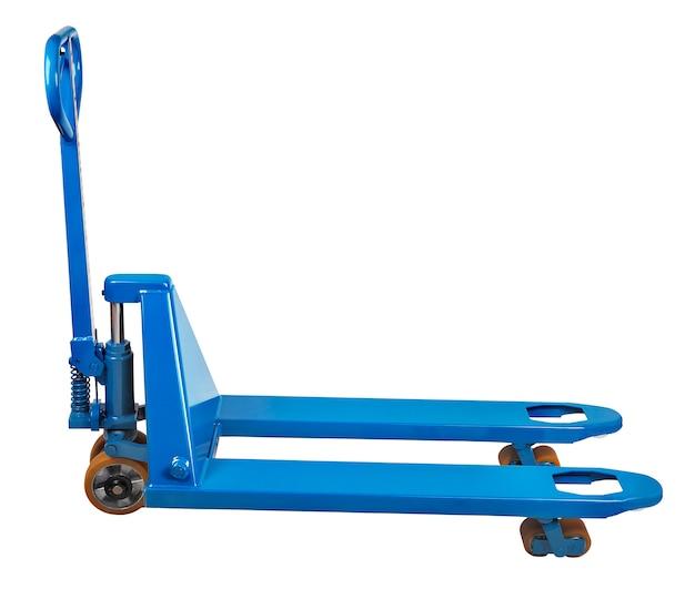 저장 장비, 파란색 유압 지게차, 팔레 타이 저, 측면보기, 흰색 배경에 고립 된 격리 경로 저장.