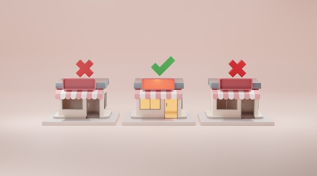 Store front 3d rendering.