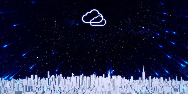 Storing data in the cloud big city filled with tall buildings internet storage