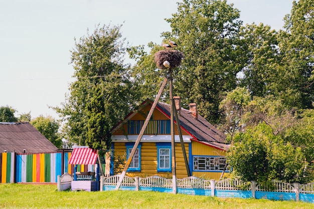 Storks sit in a nest on a lamppost near a colorful house with a well .