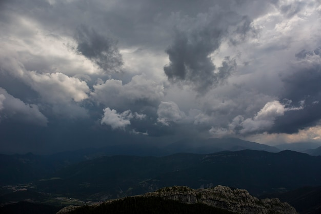 Storm clouds in bergueda mountains, barcelona, pyrenees, spain