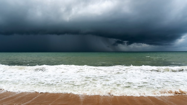 Storm clouds over sea in bad weather day