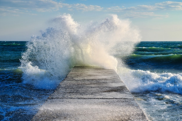 Storm on the sea, a big wave surge