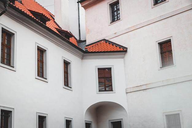 Strahov monastery old white building facade in prague, czech republic