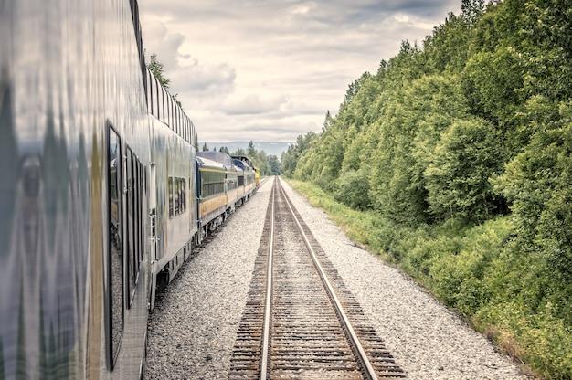 まっすぐ進む、アラスカの荒野で電車と線路