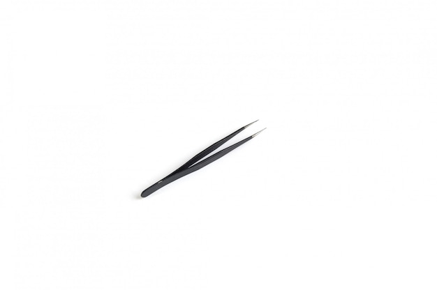 Straight tweezers for eyelash black on white