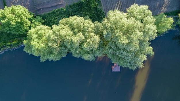 森と風景のパノラマにまっすぐな木製の橋。上面図はドローンによって撮影されています
