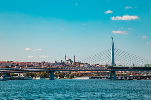 Strait of bosphorus and galata bridge.