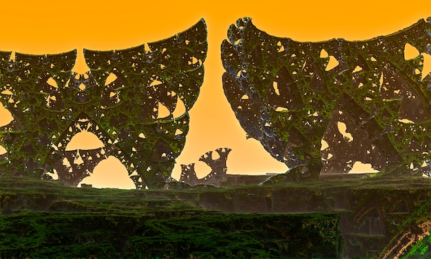 A strange world with intersecting porous metal columns against a background of peach fog. 3d rendering