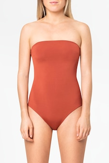 Strapless orange swimsuit women's summer apparel with design space