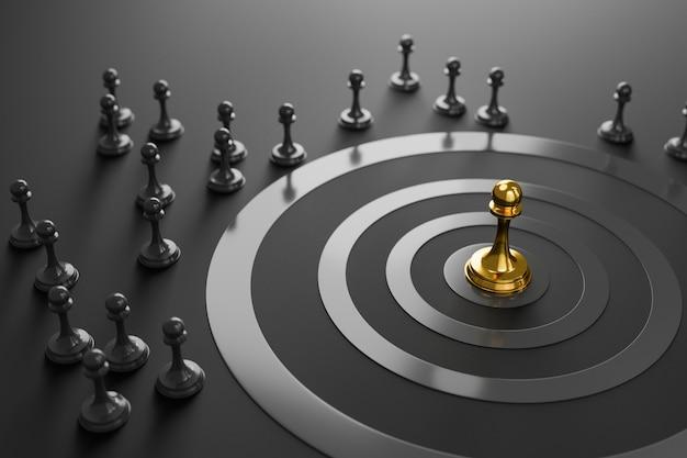 Strategic business, overcoming competitors concept
