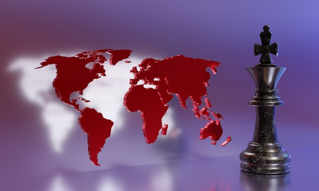 戦略の概念。世界地図の背景にあるチェスの王様。 3dイラスト