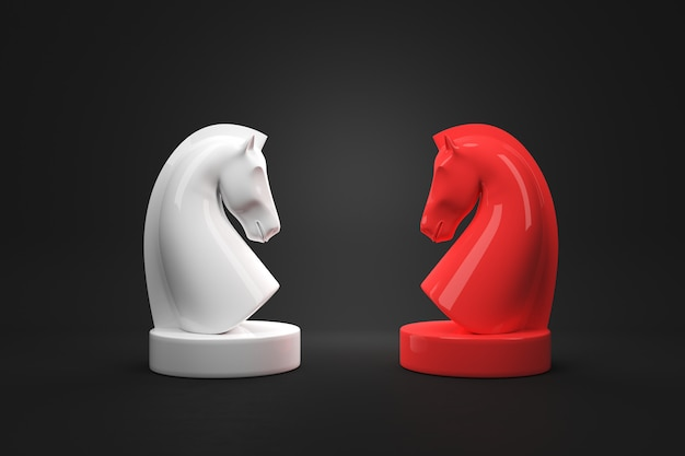 Strategy concept of horse chess board game on black color background. 3d render.