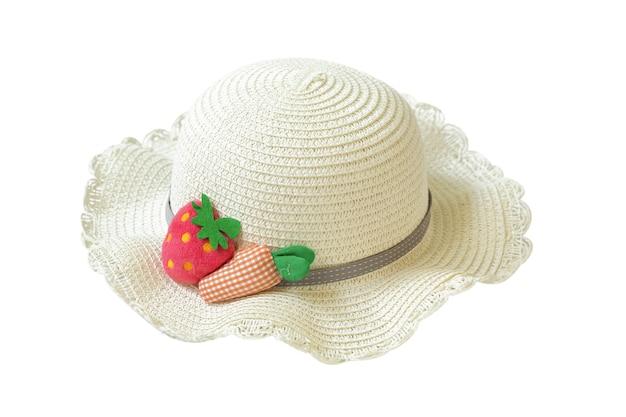 白で隔離のわらのビーチの日よけ帽。