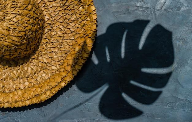 밀짚 모자와 열대 식물의 그림자