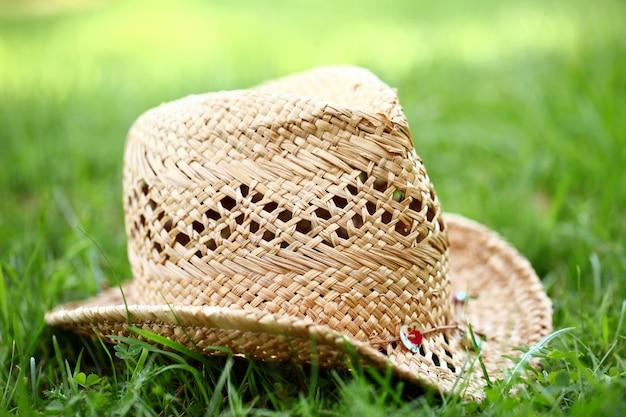 Cappello di paglia sull'erba