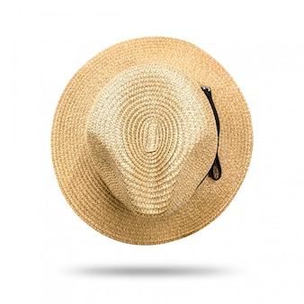 Straw hat isolated on white background. panama hat style with black ribbon.