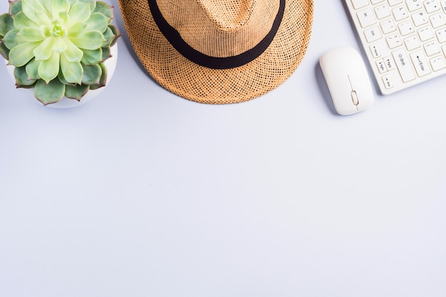 Straw hat, succulent and keyboard on neutral gray