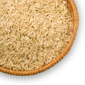 Straw plate with brown rice