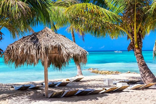 白い砂浜、海、手のひらと熱帯のビーチでわら傘。休暇旅行のリラクゼーションの背景。ドミニカ共和国のサオナ島。