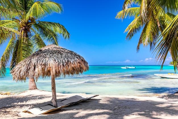 白い砂浜、海、手のひらと熱帯のビーチでわら傘。休暇旅行のリラクゼーションの背景。
