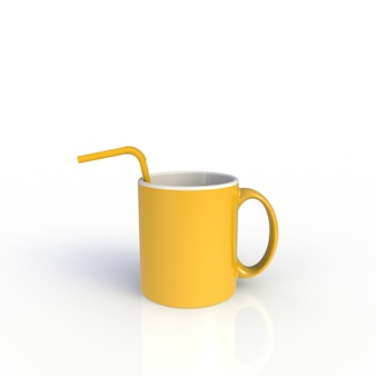 Straw in yellow coffee cup isolated on white background