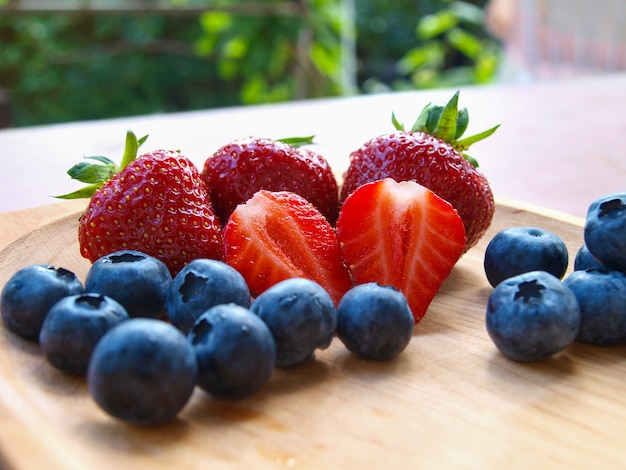 Strawberries and blueberries in summer.