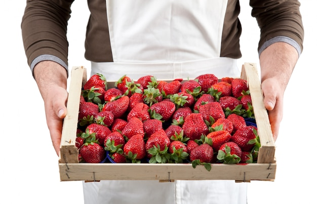 Strawberries in box