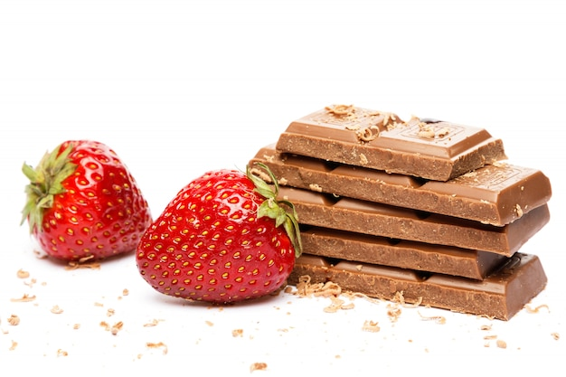Strawberries and chocolate bar