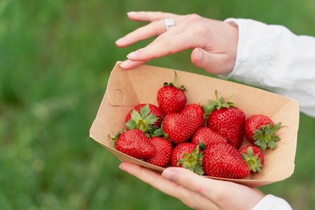딸기는 흐릿한 배경에 있는 여성의 손에 있는 일회용 에코 플레이트에 닫힙니다