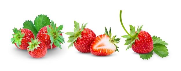 イチゴは白い背景にクローズアップ