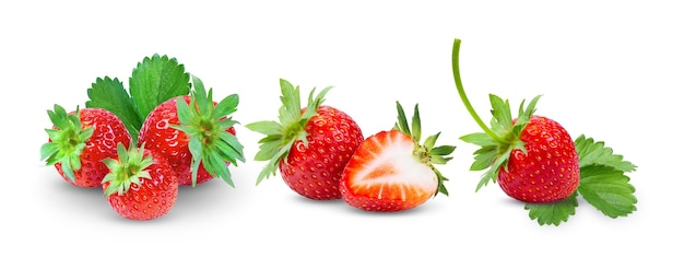 Strawberries close up on white background