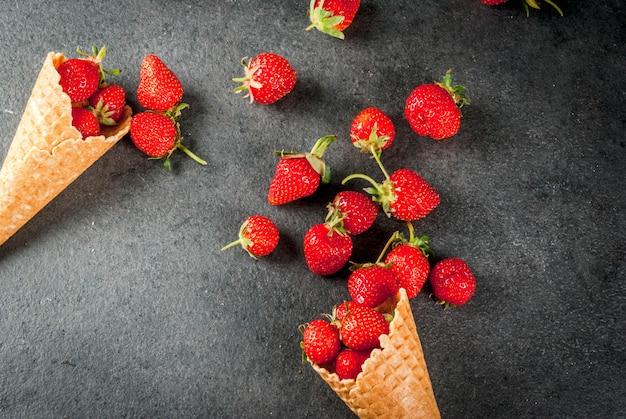 Strawberries in ice cream cones