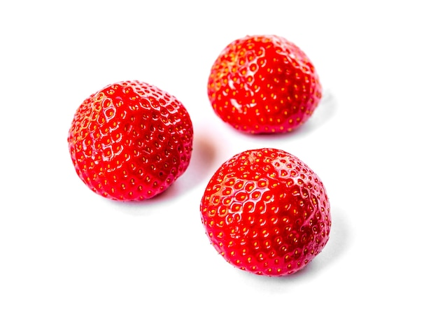 Strawberries isolated on white background. studio shooting