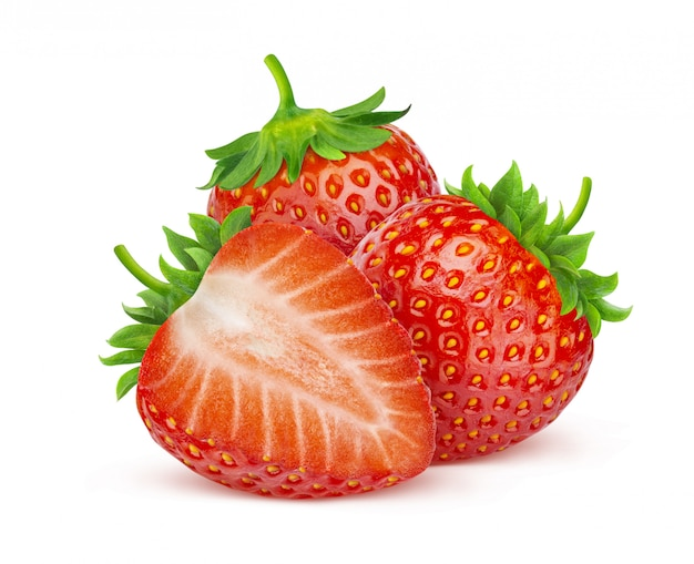 Strawberries isolated on white with clipping path