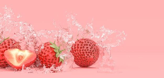Клубника на красном фоне в брызгах воды, 3d иллюстрация