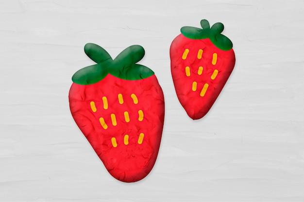 Strawberries in plasticine clay style