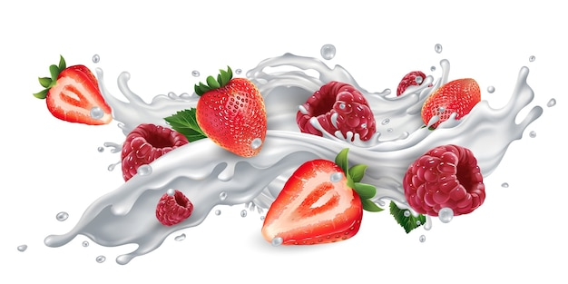 Strawberries and raspberries in a milk or yogurt splash.