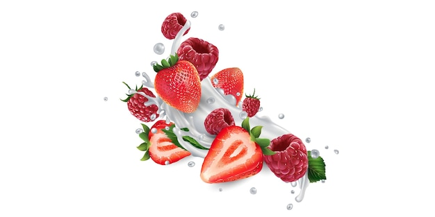 Strawberries and raspberries in splashes of yogurt or milk.