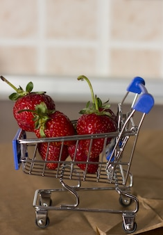 Strawberries in a shopping trolley