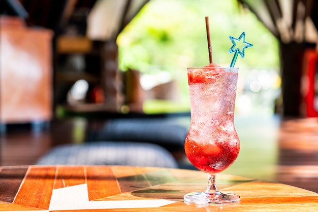 Strawberries soda in glass