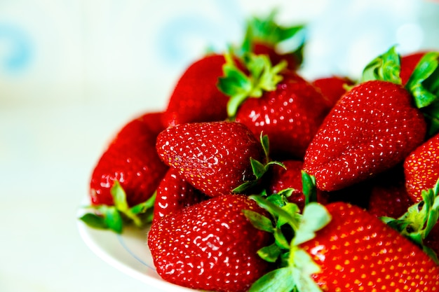 Strawberries in vivid color