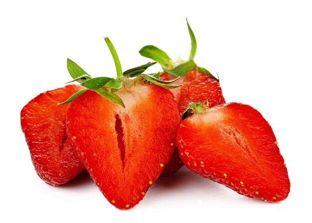 Strawberries with leaves isolated.