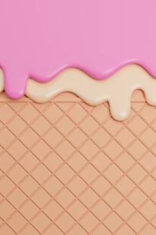 Мороженое клубники и ванили растаяло на предпосылке вафли. 3d иллюстрации.